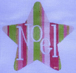 HO790 Raymond Crawford Designs PINK/GREEN NOEL STAR 5 x 5, 18 Mesh