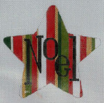 HO792 RED/GREEN NOEL STAR 5 x 5, 18 Mesh Raymond Crawford Designs