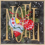 HO1122 BLACK NOEL ORNAMENTS  9.0 X 9.0, 18 Mesh Raymond Crawford Designs