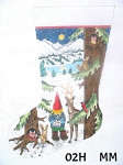 "02H MM Designs 13 mesh Size: 13"" x 19""  LARGE STOCKING 02H Boy Gnome w/Forest Animals/ Night Snow Scene"