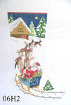 "06H2 MM Designs Santa in Sleigh/ Reindeer 13 mesh Size: 15"" x 23""   LARGE STOCKING"