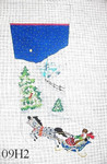 "09H2 MM Designs Couple in Sleigh/ Village Night Snow Scene 13 mesh 15"" x 23"" 13 Mesh STOCKING"