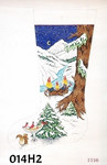 "014H2 MM Designs Three Girl Gnomes/ Nordic Night Snow Scene 15"" x 23""  13 Mesh STOCKING"