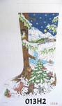 "013H2 MM Designs 13 mesh/ Forest Animals Dancing/ Night Snow Scene Size: 15"" x 23"" LARGE STOCKING"