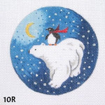 "10R MM Designs 18 mesh Polar Bear & Penquin Size: 4"" round  Christmas Ornament"