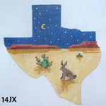 "14JX MM Designs Jack Rabbit, Cactus & Crescent Moon/ Texas Desert Size: 5 1/2"" x 5 1/2"""