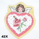 "42X MM Designs Girl & Pink Roses/ Victorian Angel Heart Size: 4"" x 4"
