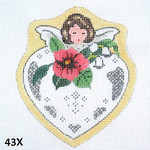 "43X MM Designs Girl/ Pink Pansy/ Victorian Angel Heart 4"" x 4"