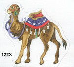 "122X MM Designs Standing Camel/ Red & Purple Trappings Size: 5.5"" x 6""  18 Mesh Nativity"