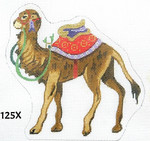 "125X MM Designs Standing Camel/ Red & Lavender Trappings Size: 5.5"" x 6""  18 Mesh Nativity"