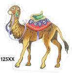 "125XX MM Designs Standing Camel/ Red, Green & Lavender Trappings Size: 5.5"" x 6""  18 Mesh Nativity"