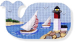 "MBM-XO17 Sailboats & Lighthouse-Whale Shape 18 Mesh  6 x 3"" Melinda B. McAra"