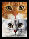 "GOK540A Thea Gouverneur Kit Cats - Tiger & Kitty 6.8"" x 4.8"" EACH; Aida; 16ct"