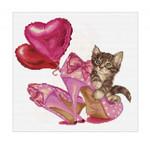 "GOK740A Thea Gouverneur Kit Valentine Kitten 12"" x 12""; Aida; 16ct"
