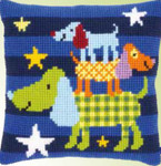 "PNV150082  Vervaco Kit Funny Dogs Cushion 16"" x 16""; Canvas"