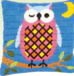 "PNV153799 Vervaco Kit Owl at Night Cushion 10"" x 10""; Canvas"
