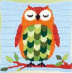 "PNV153572 Vervaco Kit Sleeping Owl Cushion 10"" x 10""; Canvas"
