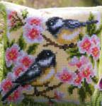 "PNV143499  Vervaco Birds & Blossoms Cushion 16"" x 16""; Canvas"