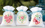 "PNV154610 Vervaco Kit Roses and Butterflies  Potpourri Bags (set of 3) 12.8"" x 33.6""; Cotton"