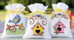 "PNV147926 Vervaco Kit Bird & Houses   Potpourri Bags (set of 3) 3.2"" x 4.8""; Aida; 18ct"