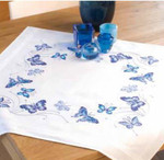 "PNV145088 Vervaco Kit Blue Butterflys Tablecloth 32"" x 32""; Cotton; 10.5ct"