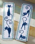 "PNV146948  Vervaco Kit Cheerful Cats Bookmarks (2) 2.4"" x 8""; Aida; 14ct"