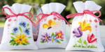 "PNV154964 Vervaco Kit Flowers and Butterflies  Potpourri Bags (set of 3) 3.2"" x 4.8""; Aida; 18ct"