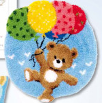 "PNV153592 Vervaco Kit Bear with Balloons Rug 24"" x 25""; Canvas"