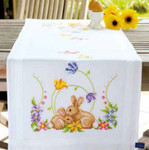 "PNV146336 Vervaco Kit Rabbits Printed Runner 16"" x 40""; Cotton"