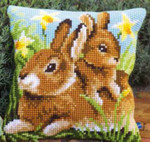"PNV148231 Vervaco Kit Mother & Baby Rabbit Cushion 16"" x 16""; Canvas"