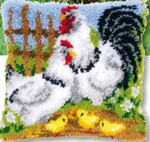 "PNV148984 Vervaco Kit Chicken Family Cushion 16"" x 16""; Canvas"