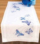 "PNV145089 Vervaco Kit Blue Butterflies Runner 16"" x 40""; Cotton"