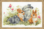 "RL1416 Riolis Cross Stitch Kit Funny Rabbits 16"" x 10""; White Aida; 14ct"