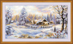 "RL1427 Riolis Cross Stitch Kit Winter Evening 16.4"" x 9.2""; White Aida; 14ct"