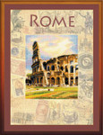 "RLPT0026 Riolis Cross Stitch Kit Cities of the World - Rome painted fabric 12"" x 16""; Aida; 14ct"