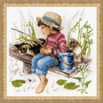 "RL1470 Riolis Cross Stitch Kit Let's Go Fishing 11.75"" x 11.75""; White Aida; 14ct"