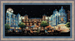 "RL1473 Riolis Cross Stitch Kit Evening Cafe 9.75"" x 9.75""; Black Aida; 14ct"