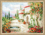 "RL1472 Riolis Cross Stitch Kit At the Fountain 15.75"" x 11.75""; Aida; 14ct"