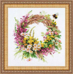 "RL1456 Riolis Cross Stitch Kit Wreath with Fireweed 11.75"" x 11.75""; Aida; 14ct"