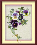 "RL1020 Riolis Cross Stitch Kit Bunch of Pansies 10"" x 12""; Aida; 14ct"