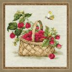 "RL1448 Riolis Cross Stitch Kit Basket with Raspberries 11"" x 11""; Aida; 10ct"