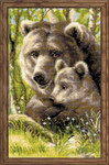 "RL1438 Riolis Cross Stitch Kit Bear with Cub 8"" x 15""; Aida; 10ct"