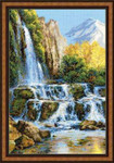 "RL1194 Riolis Cross Stitch Kit Landscape with Waterfall 16"" x 24""; Aida; 10ct"