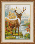 "RL1077 Riolis Cross Stitch Kit Deer 12"" x 16""; Aida; 10ct"