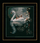 "PN147904 Lanarte Kit Swan with Cygnets 13"" x 14.6""; Aida Black; 14ct"