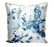 Peony play' printed Satin Cushion