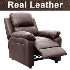 ULTIMO BROWN REAL LEATHER RECLINER ARMCHAIR