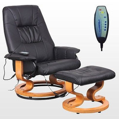TUSCANY REAL LEATHER BLACK SWIVEL RECLINER MASSAGE CHAIR w FOOT STOOL