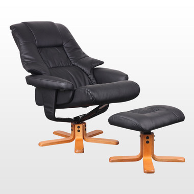 ... RECLINER CHAIR w FOOT STOOL. Image 1  sc 1 st  sonic-online & SORENTO BLACK SWIVEL RECLINER CHAIR w FOOT STOOL - sonic-online islam-shia.org
