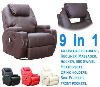 caesar leather chair gaming ac in dp armchair massage recliner brown rocking heated winged chairs swivel